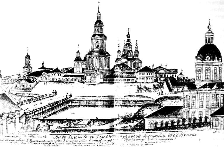 Рисунок семинариста Анисимова П.А., будущего протоиерея и архитектора. 1802 г.