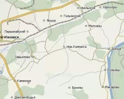 Военно-полевая узкоколейка Ижевск - Гольяны. Карта.