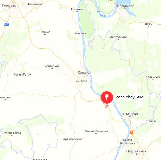 Село Мазунино. Карта.