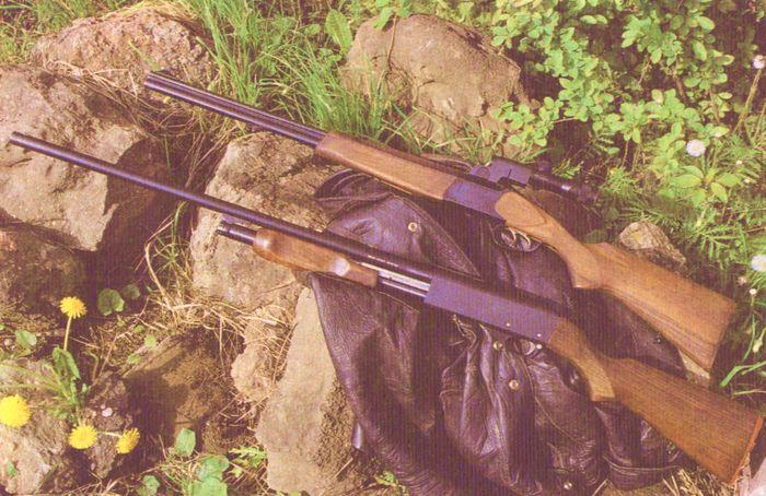 Охотничье помповое ружьё Иж-81 (нижнее). Север (верхнее)
