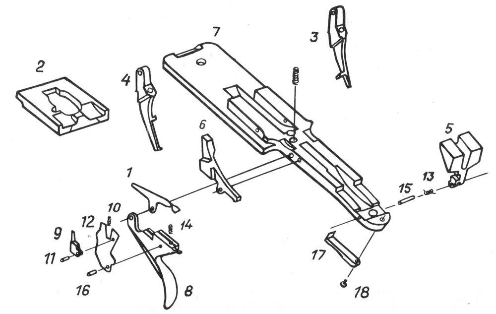 Детали спускового механизма ружья Иж-39