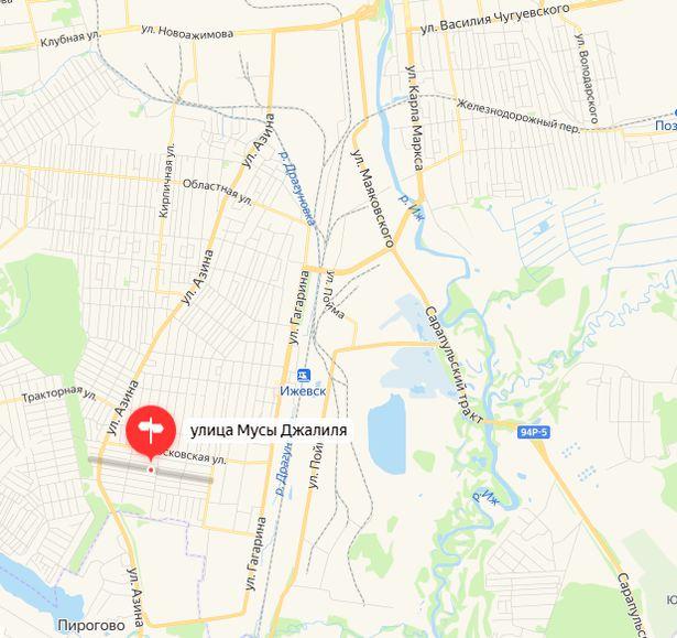 Улица Мусы Джалиля Ижевск. Карта. 2021.