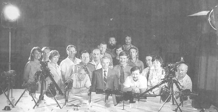 М.Т.Калашников в ВИМАИВиВС на съемках фильма - Огневой щит Родины. 11 августа 1983 г.