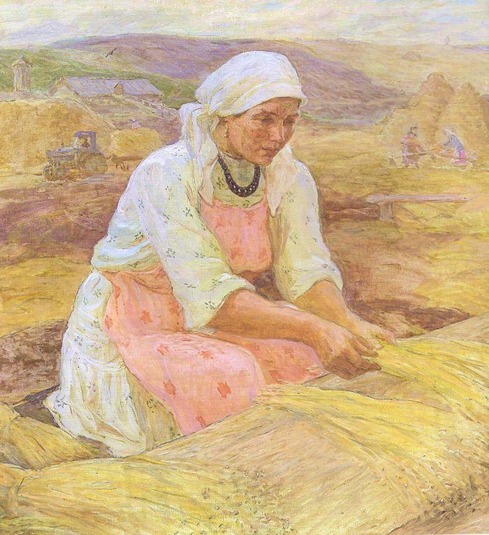 Семен Виноградов художник. Удмуртский лён. 1985.