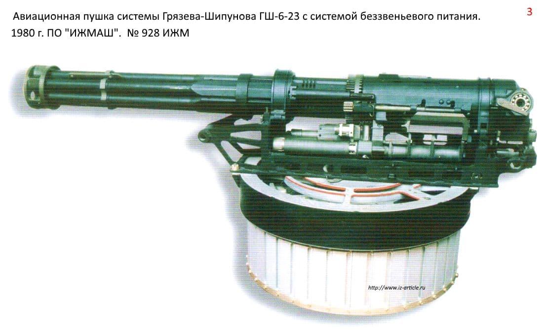 Авиационная пушка системы Грязева-Шипунова ГШ-6-26 с системой без звеньевого питания. 1980 г. ПО ИЖМАШ.