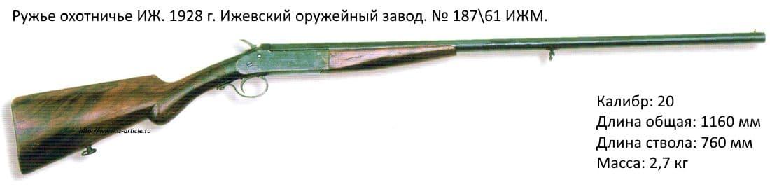 Ружье охотничье ИЖ. 1928 г. Ижевский оружейный завод. № 18761 ИЖМ.