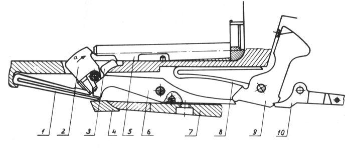 Взаимодействие деталей механизма автоматического выбрасывания гильзы ружья Иж-26Е.