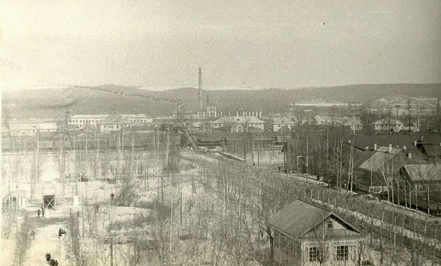 Вид на Детский парк, железнодорожный вокзал и завод Дубитель Фото: 1970-е гг., Можга.