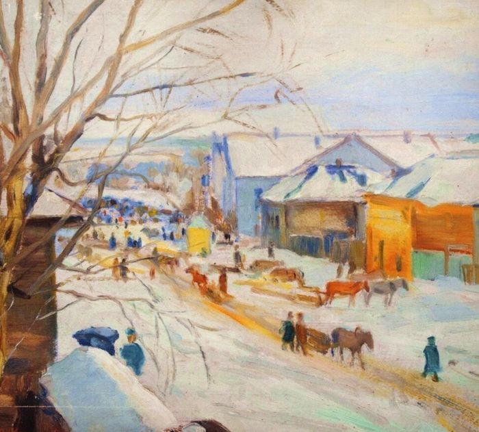 Косолапова Н.А. Зимний пейзаж (Базарная площадь) (1929).