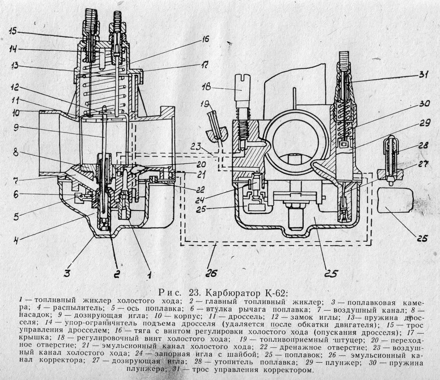 Мотоциклетный карбюратор К-62 (ИЖ)