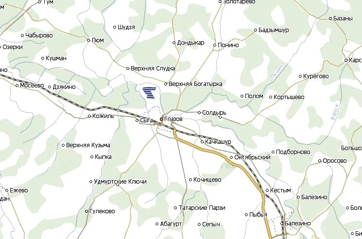 Карта Глазовского района. Удмуртия. 2019 г.