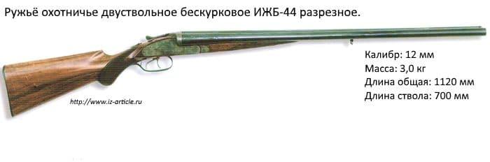 Ружьё охотничье двухствольное бескурковое ИЖБ-44 разрезное.