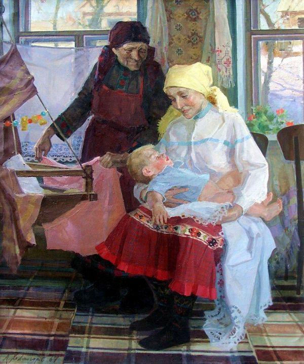 "Алексей Павлович Холмогоров ""Матери"" холст, масло 1965-67 г."