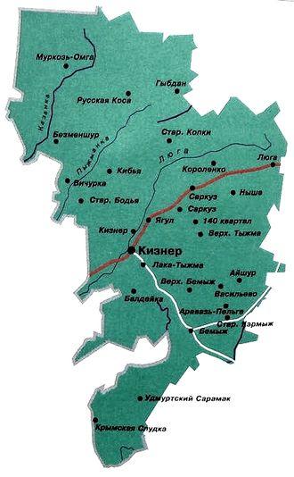 Кизнерский район. Карта.