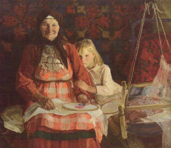 Холмогоров А.П. Бабушка Дарья Курбатова из Баграш-Бигры. 1969 год.