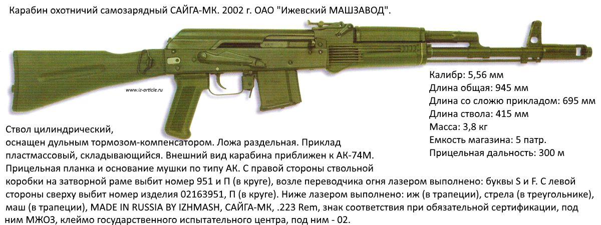Карабин охотничий  САЙГА-МК. 2002 г. ОАО Ижевский МАШЗАВОД.