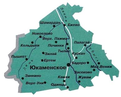 Карта Юкаменского района.