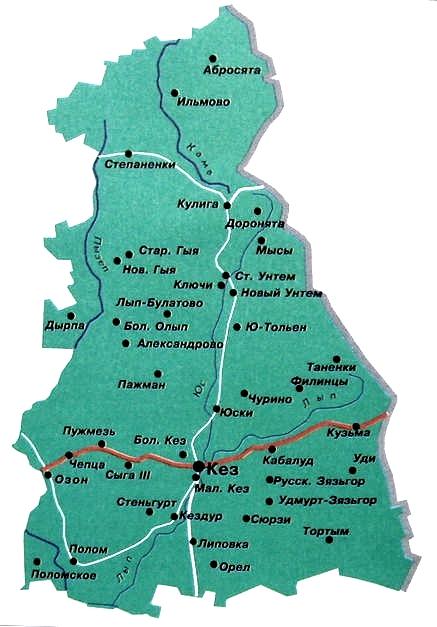 Карта Кезского района. Удмуртия.