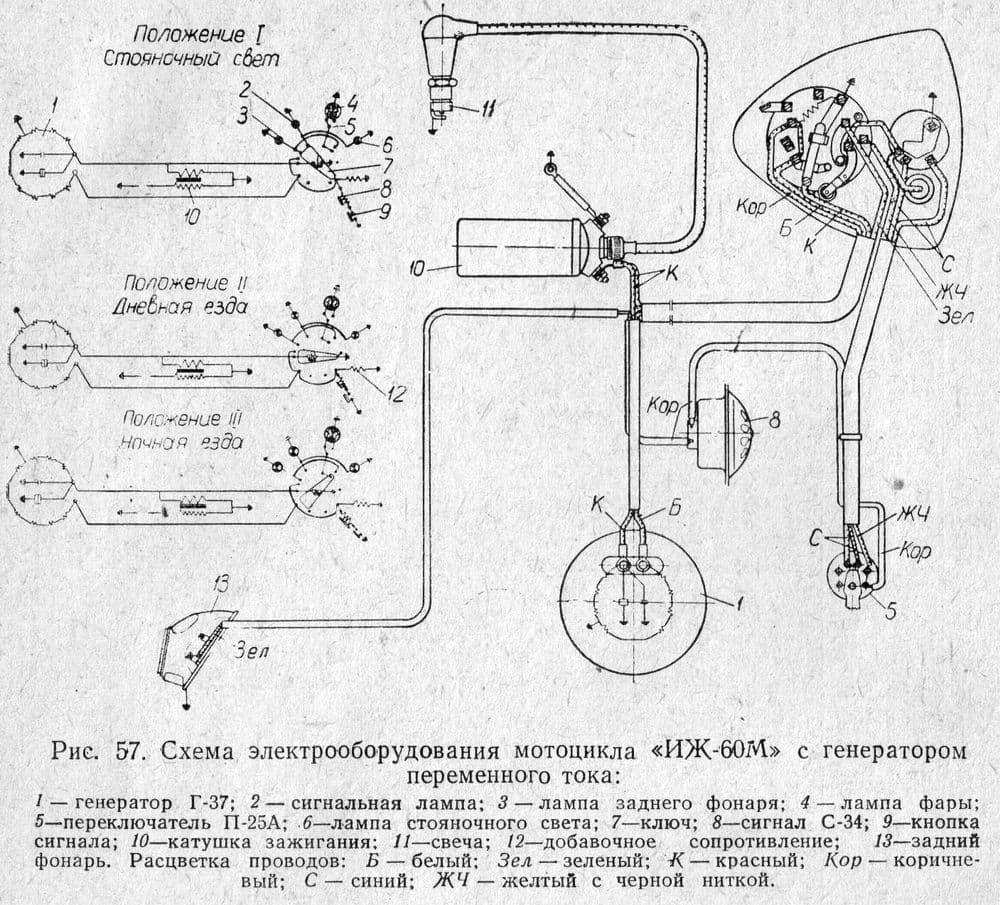 Схема электроборудования мотоцикла ИЖ-60М с генератором переменного тока.