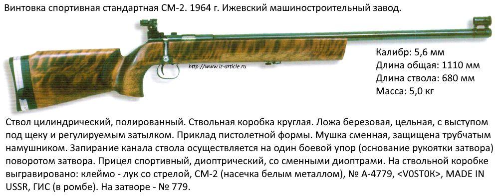 Винтовка спортивная стандартная СМ-2. 1964 г. Ижевский машиностроительный завод.