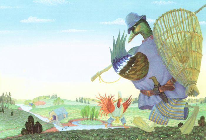 """Иллюстрация к удмуртской народной сказке """"Лиса и петух"""". Морозов Василий Николаевич."""