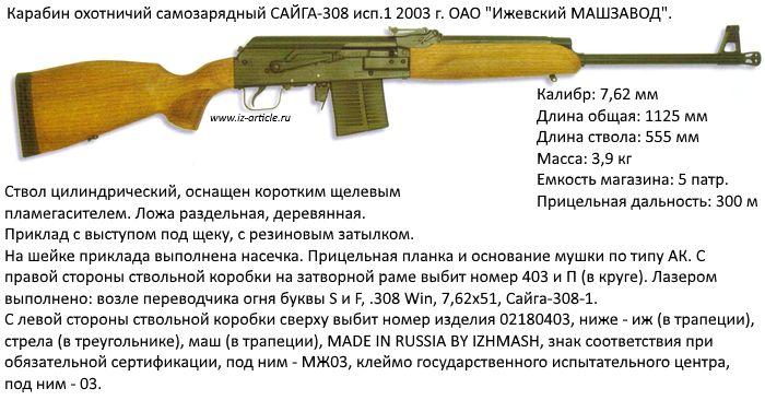 Карабин охотничий  самозарядный САЙГА-308 исп.1.