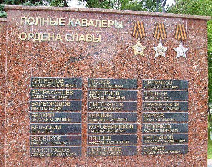 Список полных кавалеров ордена Славы у Монумента боевой и трудовой славы в Ижевске.