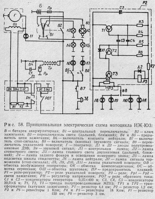 Принципиальная электрическая схема мотоцикла ИЖ-Ю3.