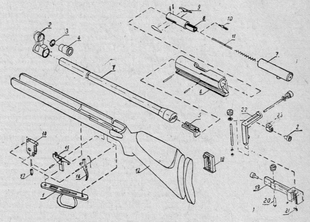 Детали и сборки спортивной винтовки БИ-4