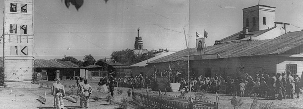 """Смотр пожарной команды """"Ижстальзавода"""", середина 1930-х.Старый Ижевск."""