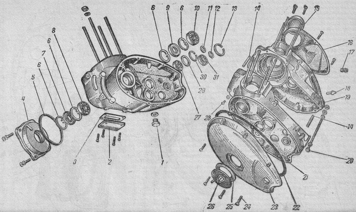 Картер вигателя Иж-Ю3. Общий вид (справа) и левая половина (слева)
