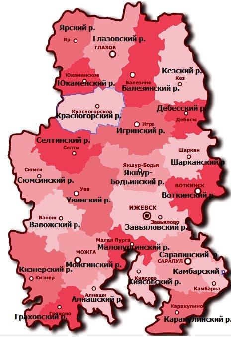 РАЙОНЫ  УДМУРТСКОЙ РЕСПУБЛИКИ. Карта.