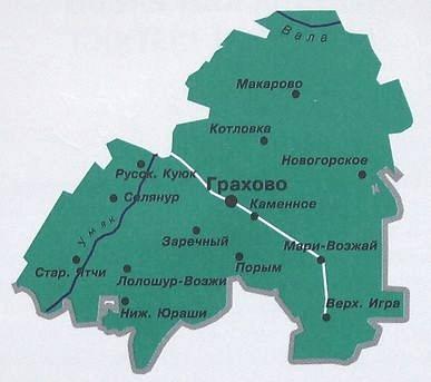 Карта Граховского района. Удмуртия.