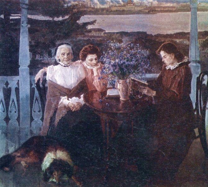 А.П.Холмогоров. Прохладное лето. М.А.Ульянова с дочерью Анной в Ижевске.