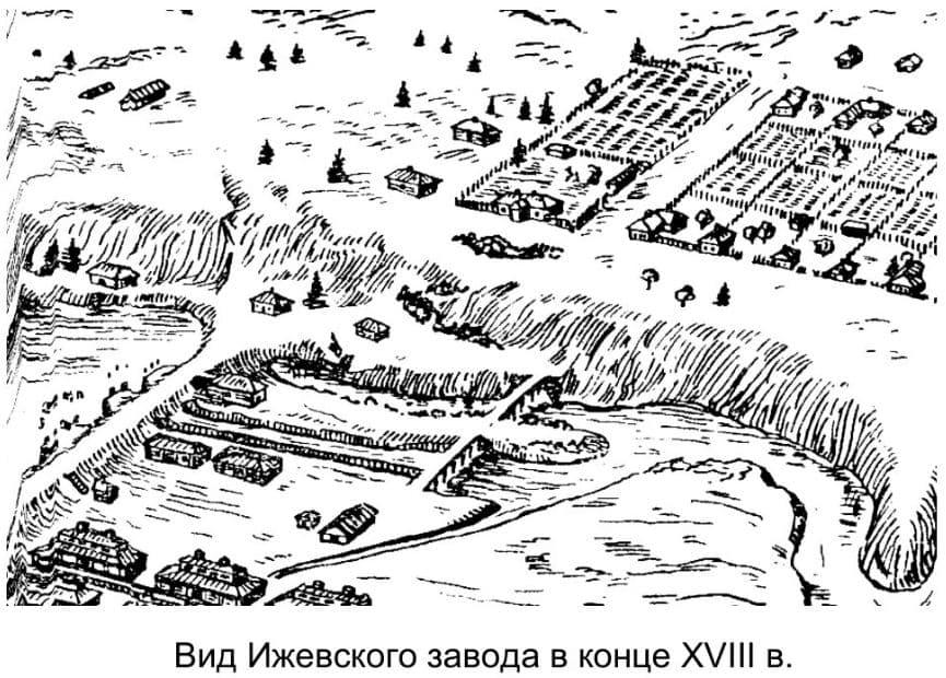 Вид Ижевского завода в конце XVIII в.