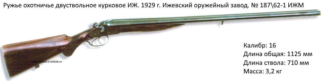 Ружье охотничье двуствольное курковое ИЖ. 1929 г. Ижевский оружейный завод. № 18762-1 ИЖМ