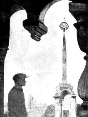 Вид на Мемориал героям революции и Гражданской войны из галереи-паперти Свято-Михайловского собора. Примерно 1925 г.