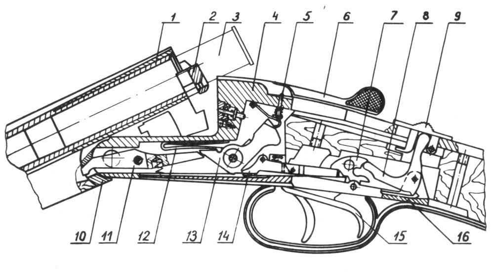 Состояние механизмов при открытых стволах ружья Иж-26.