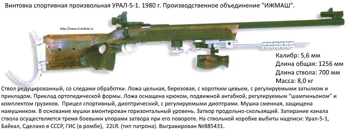 Винтовка спортивная произвольная УРАЛ-5-1. 1980 г. ПО ИЖМАШ.
