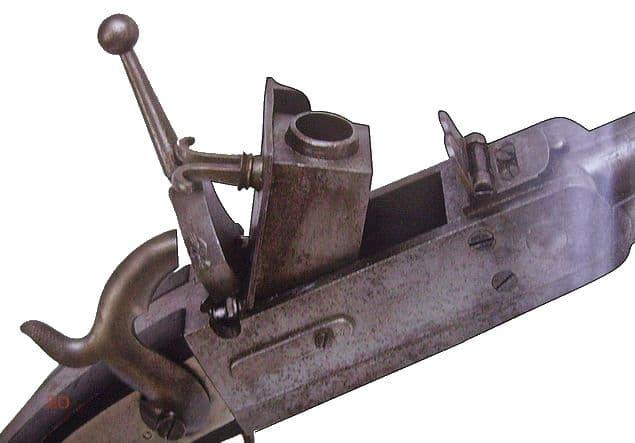 Крепостное ружьё системы Фалиса образца 1839 года. Откидной казенник.