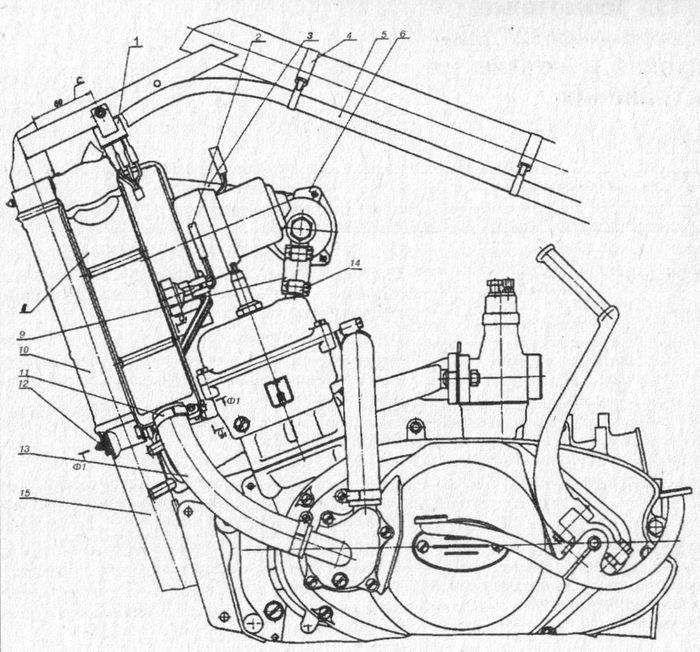 Двигатель Юпитер 5 с системой жидкостного охлаждения.