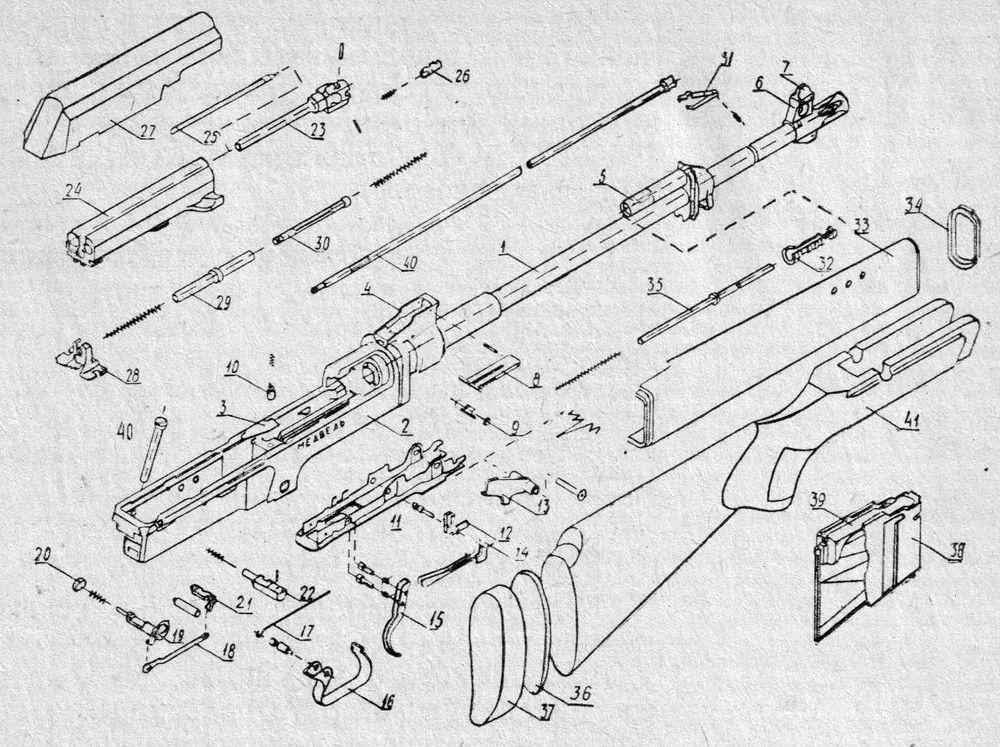 Детали и сборки самозарядного охотничьего карабина Медведь-3.