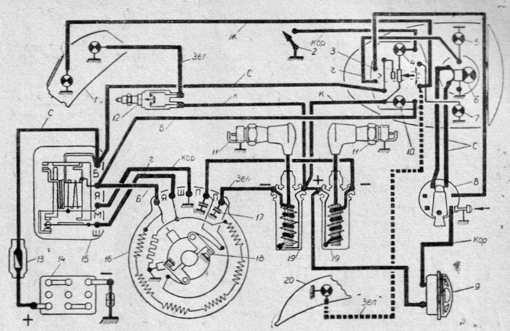 Схема электрооборудования мотоцикла ИЖ-Ю, (ИЖ-ЮК).