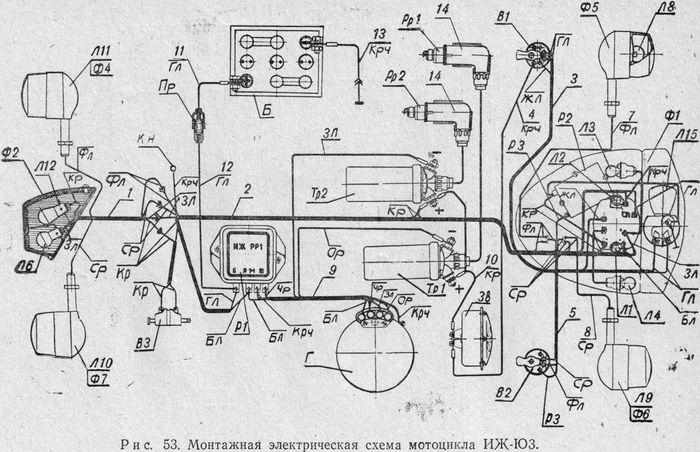 Монтажная электрическая схема мотоцикла ИЖ-Ю3