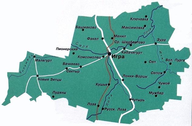 Карта Игринского района. Удмуртия.
