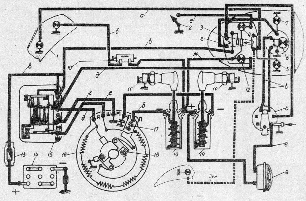 Схема электрооборудования мотоциклов ИЖ-Ю2. ИЖ-Ю2К
