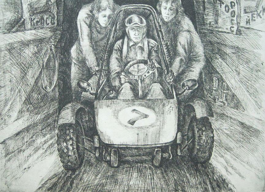 Спортивная тематика на картинах удмуртских художников. Котляров В.Б. - На старт (1983).