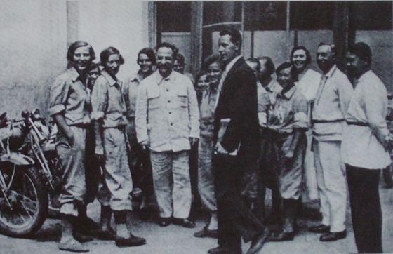 Орджоникидзе Г.К. с участниками мотопробега 4 августа 1936 г.