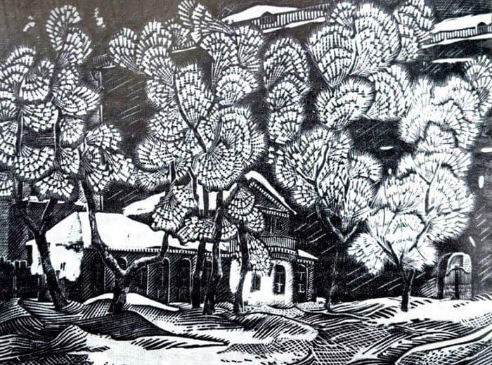 Линогравюра удмуртского художника Виктора Олюшина начала 70-х годов - Иней. Изображён дом Лятушевича, на заднем плане дом номер 9 по Советской Ижевск.