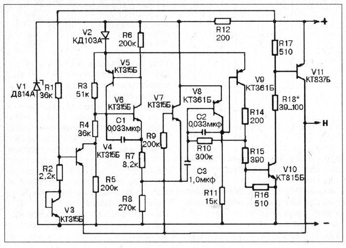 Схема реле-прерывателя указателей поворотов мотоцикла ИЖ.